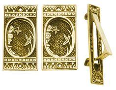 Broken Leaf Single Pocket Passage Style Door Set (Polished Brass)