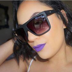 Bold Lips and Big Shades 😎💋 @ririmakeupnz rocking our matte liquid lipstick in •Purple Rain• 💜 'Barnum' shades from @quayaustralia ✔️ #DoseofColors #DoseofHeaven