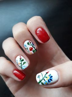 Hungarian embroidery nail art.  Kalocsai