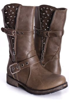 Taupe Faux Leather Mid Calf Boots