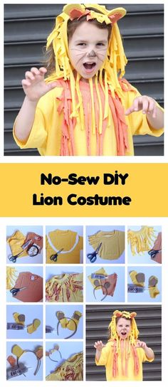 7 No-Sew DIY Costume Ideas, no sew lion costume, lion diy costume, diy lion costume, kids lion costume Halloween Crafts For Toddlers, Halloween Costumes For Kids, Diy Halloween, Vintage Halloween, Diy For Kids, Kids Crafts, Lion Fancy Dress, Fancy Dress Diy, Circus Fancy Dress