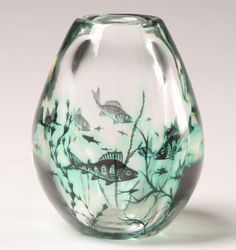 """Edward Hald for Orrefors \""""Fish Graal\"""" vase, ca. 1952, the interior with green coloured fish swimming amongst weeds cased in clear glass, engraved \'Orrefors Sweden\', \'Graal\', no 674D, \'Edward Hald\'.  6\""""H."""