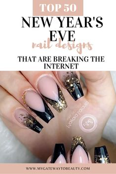Hi! Are you looking for new years nails design? We listed our top 50 of new year's nails designs that include, glitter, gel, acrylic, sparkly, coffin, and shellac nails. The colors also include black and gold that are traditional colors for New Year's Eve.