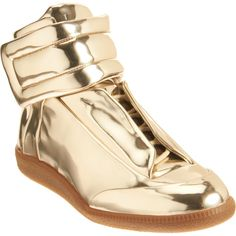 Maison Martin Margiela Mirror Sneaker - Gold size 7 Medium discovered on Fantasy Shopper Gold Sneakers, Black Leather Sneakers, Leather High Tops, Gold Shoes, Men's Shoes, Bling Shoes, Jeremy Scott Adidas, Margiela Sneakers, Gold