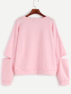 Pink Cut Out Sleeve Drop Shoulder Seam Sweatshirt Bell Sleeves, Bell Sleeve Top, Color Block Sweater, Shoulder, Sweatshirts, Sweaters, Pink, Tops, Women