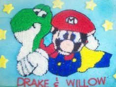 Hand drawn Mario and Yoshi Cake