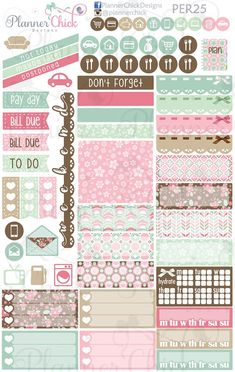 Mint Chocolate Personal Planner Weekly Kit
