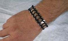 Bicycle Jewelry Bicycle Chain Link & Leather Bracelet. $25.00, via Etsy.