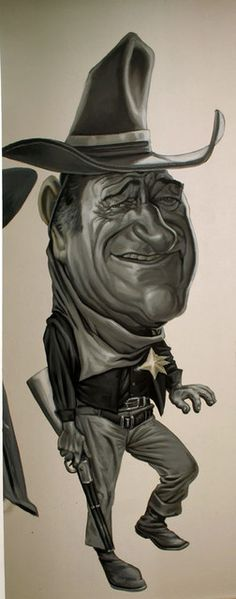 John Wayne by Jorge Restrepo, caricature cartoon portrait drawing face stylized