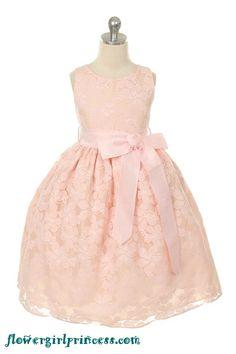 Flower Girl Dresses - Pink Flower Girl Dresses - SK282 - Pink Lace Embroidered Flower Girl Dress