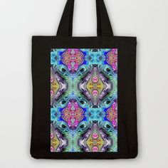 Neon Pinstripes 1 D Tote Bag by K Shayne Jacobson - $18.00