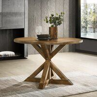 Leonila Cross-Buck Base Dining Table By Gracie Oaks Trestle Dining Tables, Counter Height Dining Table, Table And Chairs, Side Chairs, A Table, Counter Stool, Bar Stool, Dining Chairs, Solid Wood Dining Table