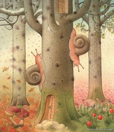 This month I will feature illustrators from Lithuania - see my other board : children's book illustrations. here you see an illustration by Kestutis Kasparavicius Children's Book Illustration, Watercolor Illustration, Art Fantaisiste, Snail Art, Art Themes, Whimsical Art, Illustrations Posters, Fantasy Art, Poster Prints
