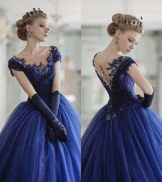 Vestido estilo princesa ou rainha azul, dress blue queen