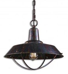 arcada 1 light bronze pendant light fixture by Uttermost, available at www.essentialsinside.com  $217.80