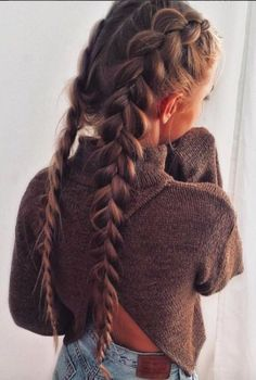 Double French Braid Long Hair
