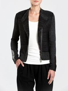Cotton Mix Stitch Moto Jacket | White and Warren - White + Warren White And Warren, Moto Jacket, Blazer, Stitch, Cotton, Jackets, Women, Fashion, Down Jackets