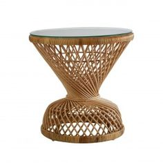 Woodstock Rattan Table Natural for sale. Hourglass shaped Rattan table with Tempered glass top. Woodstock, Fresco, Cactus, Ottoman, Rattan Side Table, Rattan Furniture, Discount Designer, Bar Stools, Home Accessories