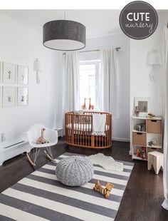 Babykamer in grijs en wit / chambre enfant / gris/ blanc/ bois