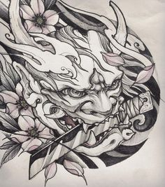 Tattoo designs sleeve sketches art Ideas for 2019 Hannya Maske Tattoo, Oni Mask Tattoo, Hanya Tattoo, Demon Tattoo, Dragon Tattoo Art, Japanese Mask Tattoo, Japanese Dragon Tattoos, Japanese Tattoo Designs, Japanese Hannya Mask