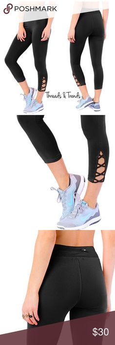 Activewear Lattice Capri Leggings Inspired style of  famous name brand Athleta. Now at a affordable price. Stylish mixed media black active wear leggings with mesh inlay. Small zipper pocket on black of waistband. Made of polyester and spandex. Size S/M, M/L Threads & Trends Pants Leggings