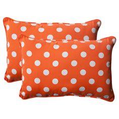 Pillow Perfect Orange Polka Dot Corded Rectangular Indoor/Outdoor Throw Pillows (Set of 2)