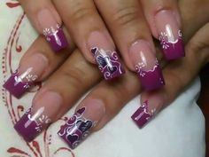 Purple or berry colored tips with hearts Valentine's day nails