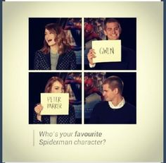 I can't choose. Peter Parker and Gwen Stacey!!! But the hottest duuu would be Peter Parker all the way!!!! But then again Gwen Stacey is wicked gorgeous!!! Aaah I love them both. They are such great actors!!!!