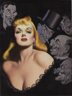 """Gentlemen Prefer Blondes"" art by Earle Bergey for Anita Loo's novel circa 1950"