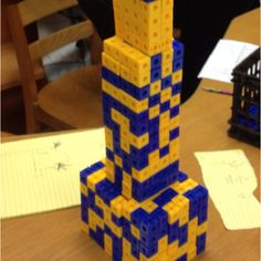 Teaching volume ! Students create skyscrapers using cubes. They then calculate the volume of each solid used to create the building. For the final step students add all the volumes together to find the volume of the entire building.