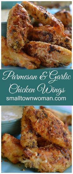 These wings are so easy to prepare! They are coated in garlic, Parmesan cheese and a perfect blend of spices! They areuh so full of tantalizing taste bud flavors! They are baked not fried but you would never know the difference! Turkey Recipes, Chicken Recipes, Chicken Drummies Recipes, Chicken Meals, Meat Recipes, Parmesan Chicken Wings, Garlic Parmesan Wings Fried, Keto Chicken Wings, Crispy Chicken