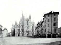 The old Duomo square before demolitions of the 1800s. Discover this story and many others during our guided tours.  http://www.milanoarte.net/tour/milano-remarkable-city-art-and-culture