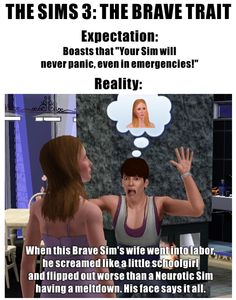 """The Sims 3: Expectation vs Reality of the """"Brave Trait"""""""