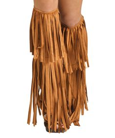 Retro 60s 70s Hippie Costume Indian Tan Fringe Boot Covers Adult #FunWorld