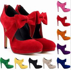 Womens High Heel Stilettos Faux Suede Pumps Shoes Sweet Bowknot Candy Colors