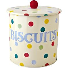 Emma Bridgewater Polka Dot Biscuit Barrel ($19) ❤ liked on Polyvore featuring home, kitchen & dining, food storage containers and emma bridgewater