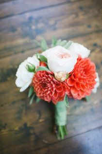Pretty coral bouquet....this coral flower with white dahlia or lissianthus with asparagus  fern and baby's breath. Simple