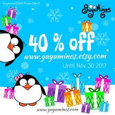40% Off until Nov 30, 2017 on www.guyuminos.etsy.com #off #sale #xmas #gift #personalized #plushies #toy #cushion #totebagchristmas_tree Obten un 40% de desc. hasta el 30 de #Noviembre de 2017 #descuento #regalo #peluche #cojin #bolsos #navidad #guyuminos #etsy