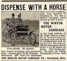 On July 30, 1898, the first magazine ad promoting a car for sale was printed.