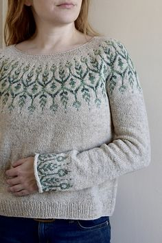 Ravelry: Newleaf pattern by Jennifer Steingass Sweater Knitting Patterns, Knit Patterns, Fair Isle Knitting, Hand Knitting, Punto Fair Isle, Icelandic Sweaters, Sport Weight Yarn, Knit Picks, Knit Fashion