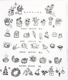 Doodles for your bullet journal // just in time for autumn-winter [check out my . Doodles for your Doodle Inspiration, Bujo Doodles, Planner Doodles, Food Doodles, Sketch Notes, Simple Doodles, Bullet Journal Inspiration, Journal Ideas, Bullet Journal Doodles Ideas