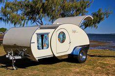 Tiny Yellow Teardrop: Featured Teardrop: The Gidget Retro Teardrop Camper US Purchase Gidget Retro Teardrop Camper, Tiny Camper Trailer, Teardrop Caravan, Small Trailer, Mini Camper, Camper Caravan, Teardrop Trailer, Airstream Trailers, Retro Caravan