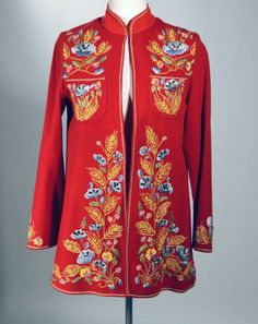 """1940's RED WOOL MEXICAN JACKET WITH POLYCHROME EMBROIDERY - WORK OF ART -- """"LAB-MEX, Trabajos Tipicos"""" -- """"Marca - Reg. No. 50694"""".  Available for sale at rpvintage.com."""