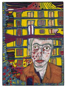 House born in Stockholm, dies in Paris and myself mourning it, 1966 by Friedensreich Hundertwasser on Curiator, the world's biggest collaborative art collection. Friedensreich Hundertwasser, Stockholm, Modern Art, Contemporary Art, Digital Museum, Art Brut, Collaborative Art, Outsider Art, Urban Landscape