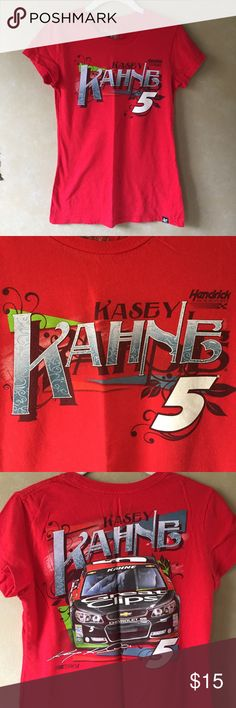 NASCAR Kasey Kahne tee NASCAR Kasey Kahne t-shirt   Size Small   Only worn once/no damage   Features graphics on front and back   Women's fitted tee                                                                                                     🛍Bundle & Save!  📫I ship within 1-2 days  💎I don't ship on Sat. afternoon & Sun. Tops Tees - Short Sleeve