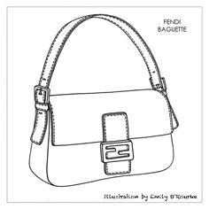FENDI - BAGUETTE - Designer Handbag Illustration / Sketch / Drawing / CAD / Borsa Disegno