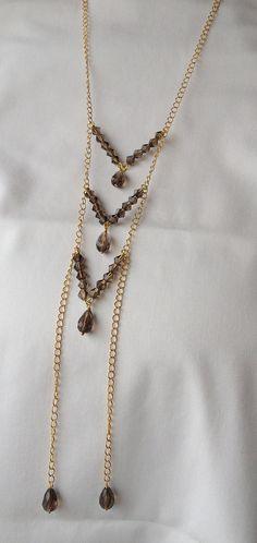 Smoky Quartz necklace with a nod towards a native breastplate.