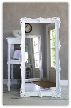 Leaning White Baroque Mirror, Large Shabby Chic Mirror, Vintage, Leaner, Floor