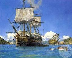HMS Trusty in English Harbor by Geoff Hunt, Art Print of Vintage Sailing Ships