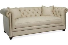 """Lee Industries 3772-03 4396 Bovey Tufted Apartment Size Sofa  Height 32"""", Width 85"""", Depth 40""""  Inside: Width 60"""", Depth 24"""" Seat Height 20"""", Arm Height 26.5""""  COM Requirement: 18 yds"""